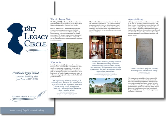 Cover and inside pages of 1817 Legacy Circle leaflet