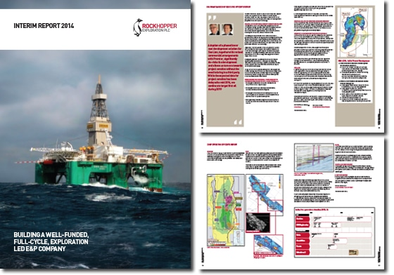 cover and spreads from Rockhopper Exploration Interim Report 2014