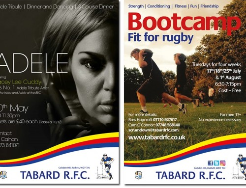 Tabard RFC posters, flyers and promotional items